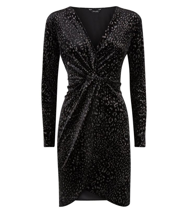 9c2a47cbbbce ... Black Velvet Glitter Leopard Print Wrap Dress. ×. ×. ×. Shop the look