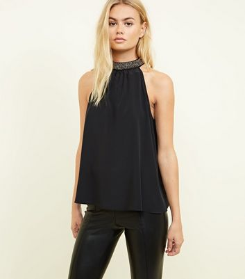 Black Diamanté Halterneck Top