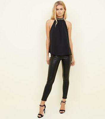 Black Diamanté Halterneck Top New Look