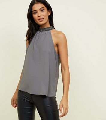 Dark Grey Diamanté Halterneck Top
