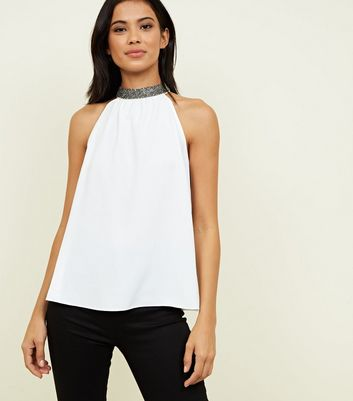 Off White Diamanté Halterneck Top