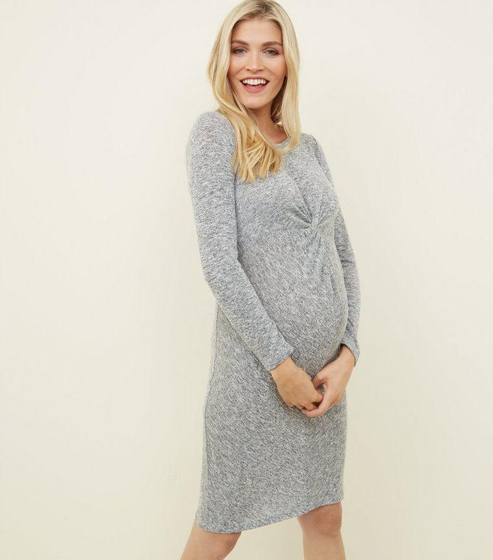 ddc30fe7521ff Maternity Grey Fine Knit Twist Front Bodycon Dress | New Look