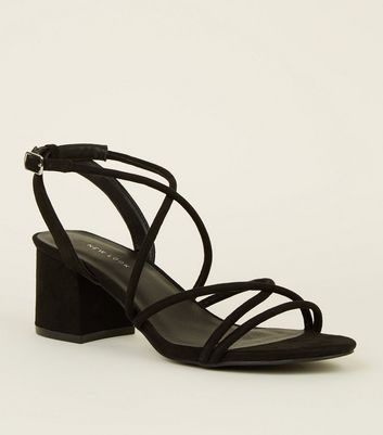 Black Tube Strap Low Heel Sandals