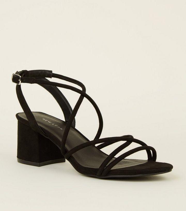 faa3642b37e4 Black Tube Strap Low Heel Sandals