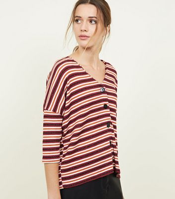 Orange and Red Stripe Metallic Button Front Top