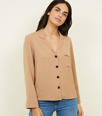 Camel Piped Pocket Pyjama-Style Shirt