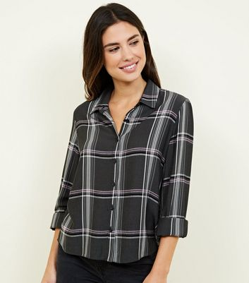 Light Grey Check Button Front Shirt