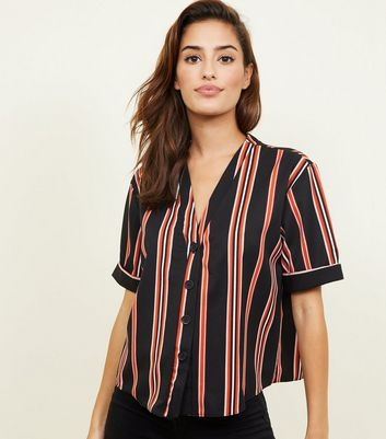 Black Stripe Twill Boxy Shirt