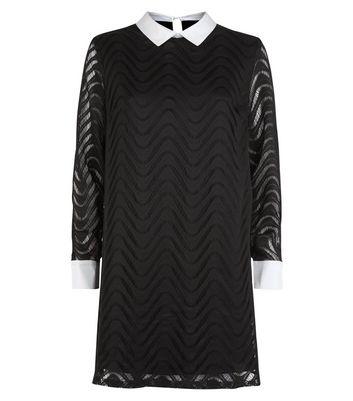 Mela Black Lace Contrast Collar Tunic Dress New Look
