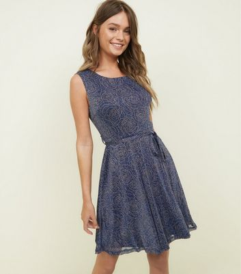 Mela Blue Rose Glitter Skater Dress