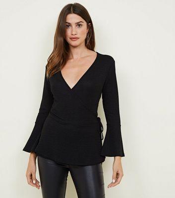 Mela Black Bell Sleeve Wrap Front Top New Look