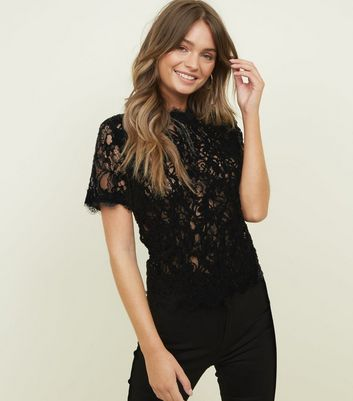 Black Cornelli Lace Zip Back Top