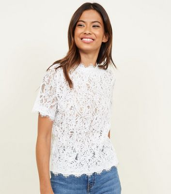 White Cornelli Lace Zip Back Top