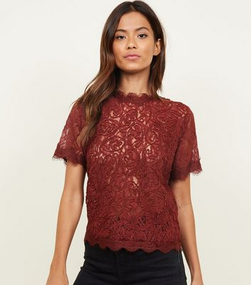 Burgundy Cornelli Lace Zip Back Top