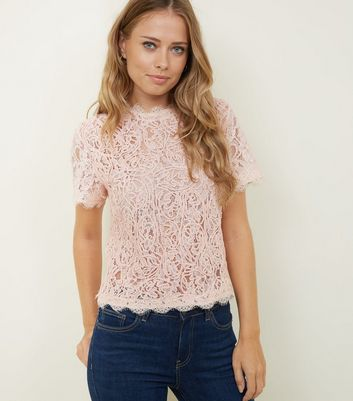 Pale Pink Cornelli Lace Zip Back Top