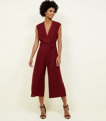Burgundy Lace Trim Wrap Culotte Jumpsuit