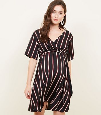 Maternity Stripe Wrap Front Tie Waist Dress