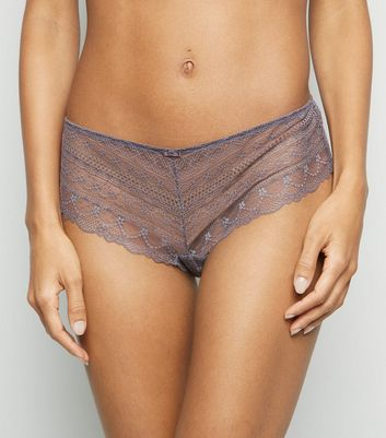 Light Purple Geometric Lace Short Briefs