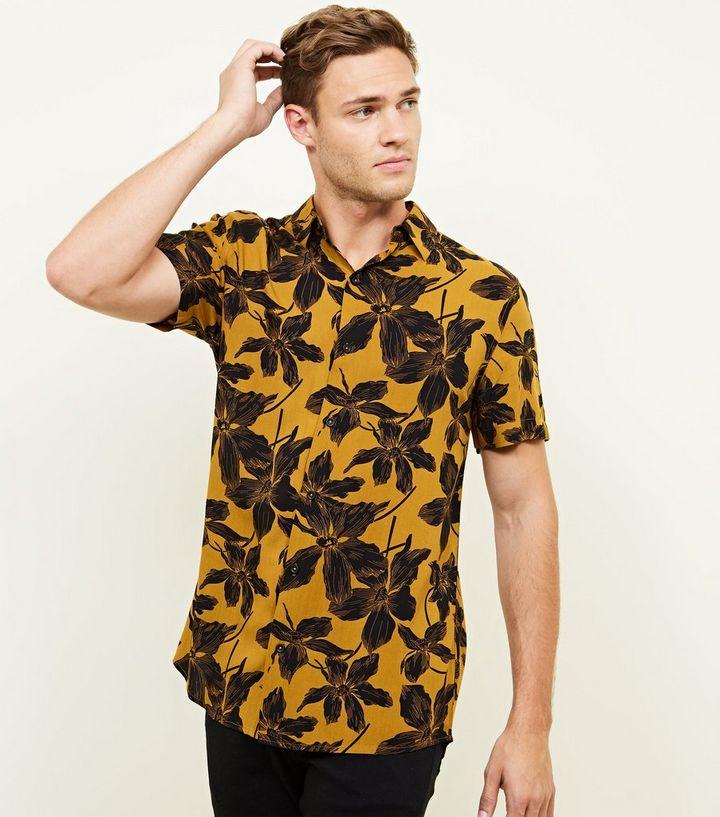 dd6f4004cda12 Mustard Floral Short Sleeve Shirt