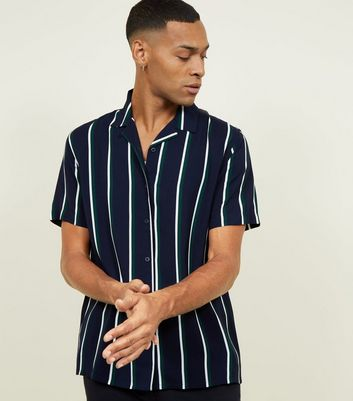 Navy Stripe Short Sleeve Revere Collar Shirt