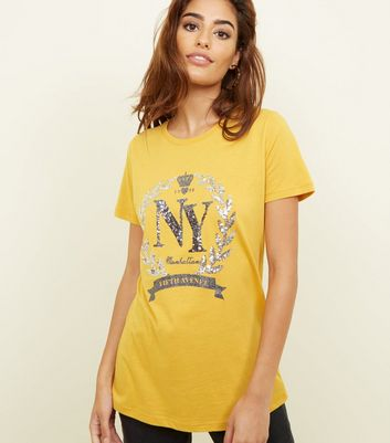 Mustard New York Sequin Embellished T-Shirt