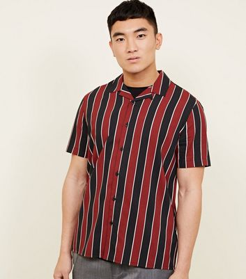 Red Stripe Short Sleeve Revere Collar Shirt