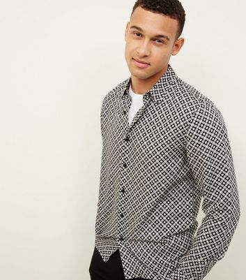 Black Geometric Tile Print Collared Shirt
