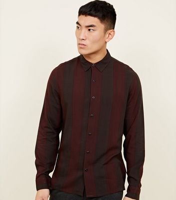 Burgundy Vertical Stripe Long Sleeve Shirt