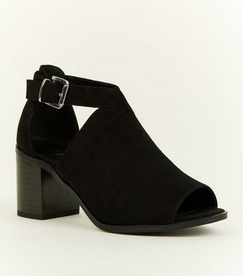 Girls Black Suedette Cut Out Block Heel Shoe Boots