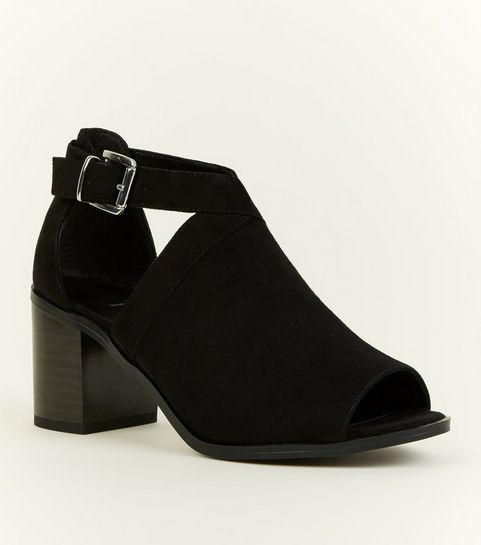 bfedede2b7b ... Girls Black Suedette Cut Out Block Heel Shoe Boots ...