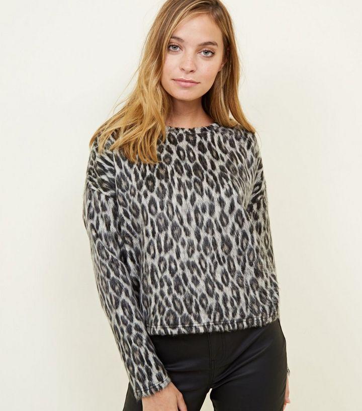 88ce7d49eddf Petite Grey Leopard Print Brushed Fine Knit Top | New Look