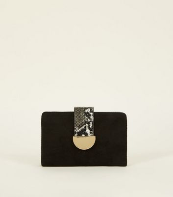 Black Suedette Faux Snake Trim Purse