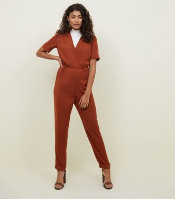 Rust Toggle Waist Wrap Jumpsuit
