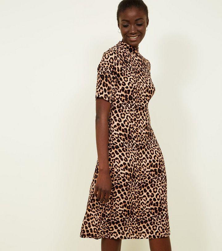 182355475902b Brown Leopard Print High Neck Midi Dress