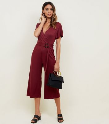 Plum Ribbed Faux Horn Buckle Culotte Jumpsuit