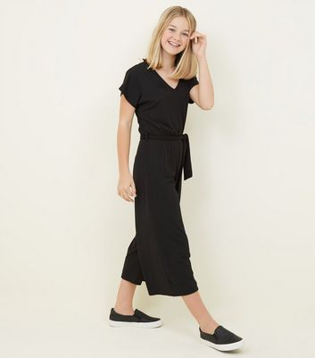 Girls Black Ribbed Belted Culotte Jumpsuit