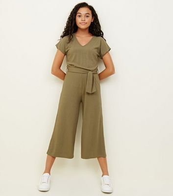 Girls Khaki Ribbed Belted Culotte Jumpsuit