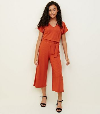 Girls Orange Ribbed Belted Culotte Jumpsuit