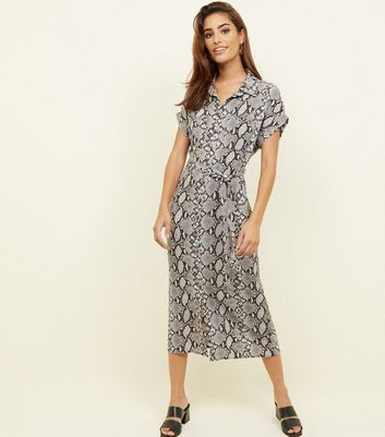 Light Grey Snake Print Twill Midi Shirt Dress