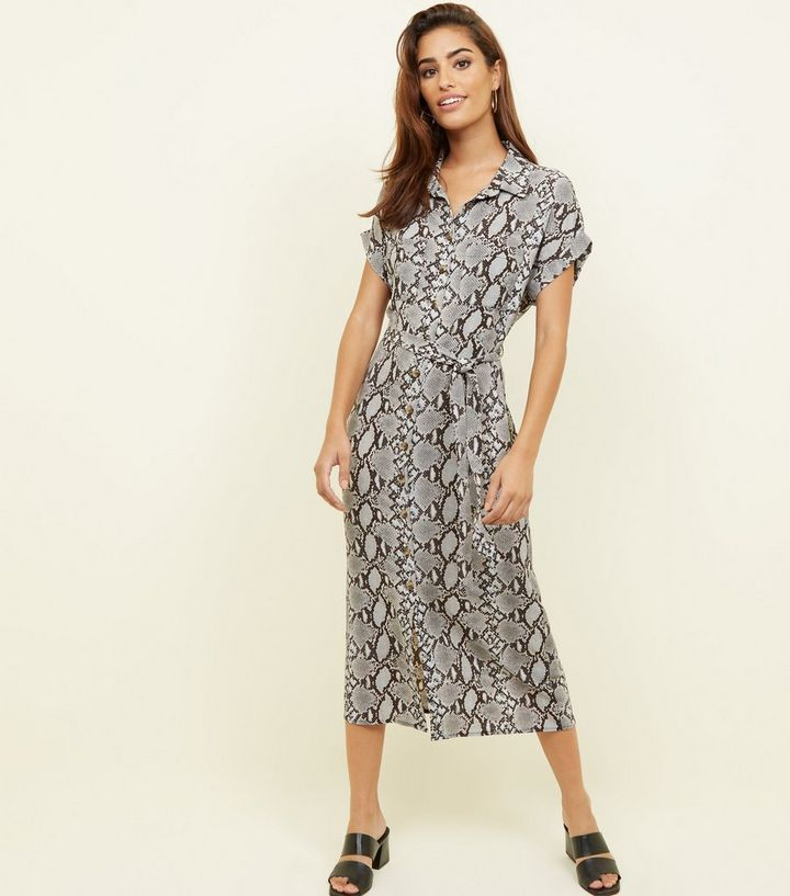 242a0f57e214 Light Grey Snake Print Twill Midi Shirt Dress