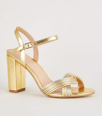 Gold Shimmer Linked Strap Block Heels