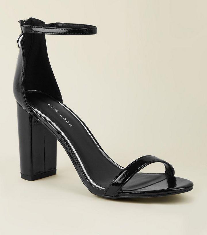 Black Patent Ankle Strap Ring Zip Block Heels