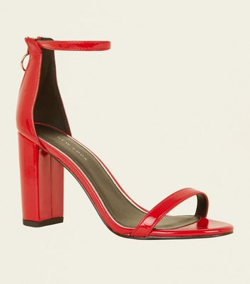 Red Patent Ankle Strap Ring Zip Block Heels