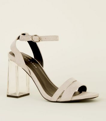 Grey Suedette Strappy Clear Block Heels