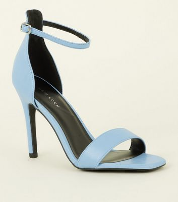 Pale Blue Leather-Look Stiletto Heel Sandals