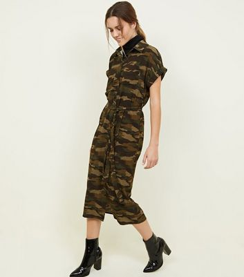 Green Camo Print Midi Shirt Dress