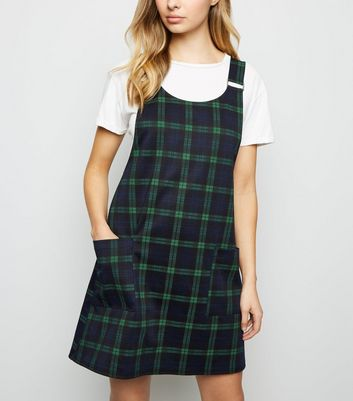 Green Check Buckle Strap Pinafore Dress