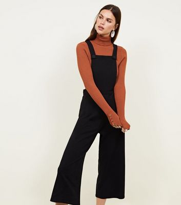 Black Cross Hatch Jersey Cropped Dungarees
