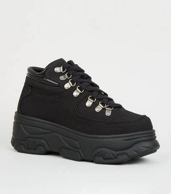 Black Leather-Look Chunky Trainers