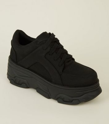 Black Suedette Chunky Platform Trainers by New Look